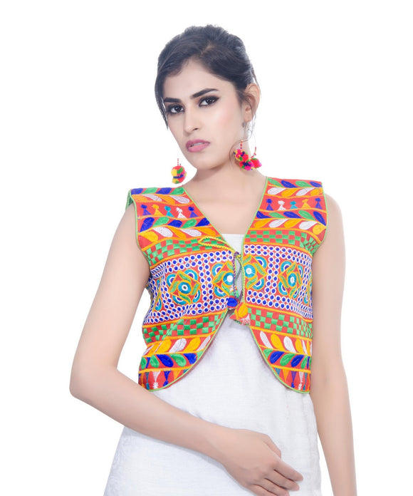 Banjara India Women's Cotton Blend Kutchi Embroidered Sleeveless Short Jacket/Koti/Shrug (Swastik) - SJK-SWT03
