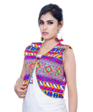 Banjara India Women's Cotton Blend Kutchi Embroidered Sleeveless Short Jacket/Koti/Shrug (Swastik) - SJK-SWT04