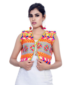 Banjara India Women's Cotton Blend Kutchi Embroidered Sleeveless Short Jacket/Koti/Shrug (Swastik) - SJK-SWT05