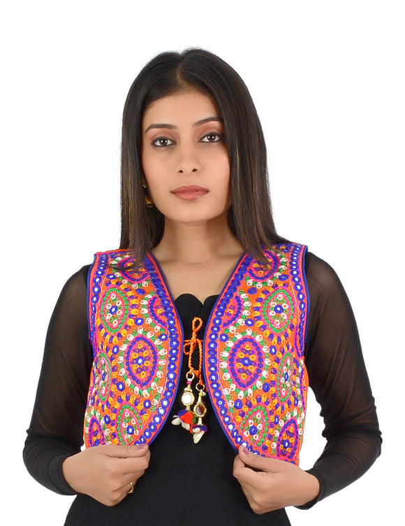 Banjara India Women's Cotton Blend Kutchi Embroidered Sleeveless Short Ethnic Jacket/Koti (SSE-1001) – Orange