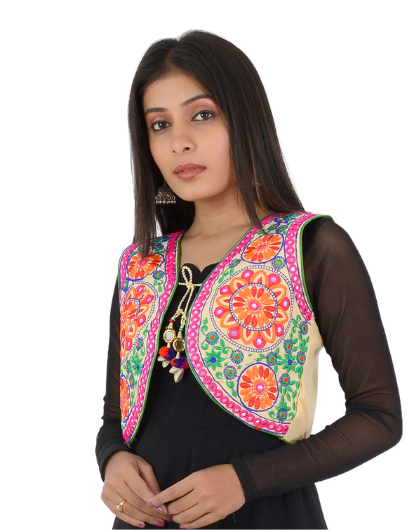Banjara India Women's Cotton Blend Kutchi Embroidered Sleeveless Short Ethnic Jacket/Koti (SSE-2002) – Beige