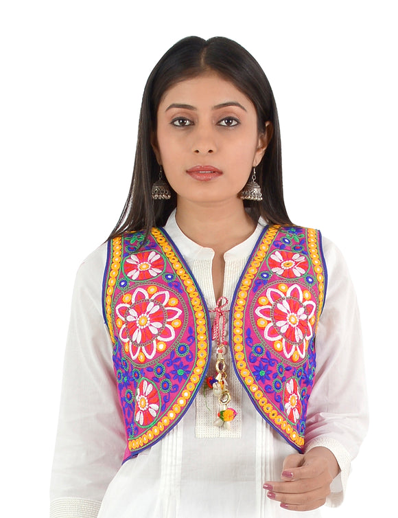Banjara India Women's Cotton Blend Kutchi Embroidered Sleeveless Short Ethnic Jacket/Koti (SSE-2002) – Pink