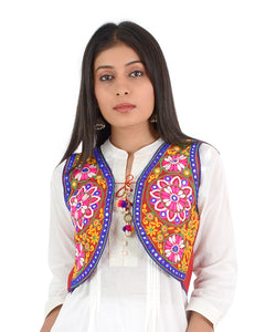 Banjara India Women's Cotton Blend Kutchi Embroidered Sleeveless Short Ethnic Jacket/Koti (SSE-2002) – Red