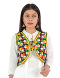 Banjara India Women's Cotton Blend Kutchi Embroidered Sleeveless Short Ethnic Jacket/Koti (SSE-4004) – Black
