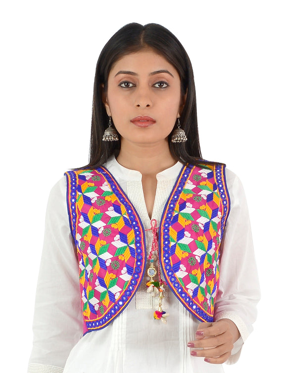 Banjara India Women's Cotton Blend Kutchi Embroidered Sleeveless Short Ethnic Jacket/Koti (SSE-4004) – Pink