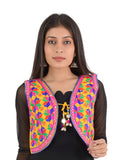 Banjara India Women's Cotton Blend Kutchi Embroidered Sleeveless Short Ethnic Jacket/Koti (SSE-4004) – Yellow