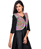 Banjara India Women's Cotton Blend Kutchi Embroidered Sleeveless Short Jacket/Koti/Shrug (Gamthi) - SSP-GAM04