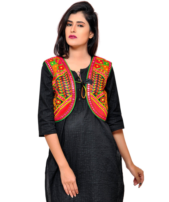 Banjara India Women's Cotton Blend Kutchi Embroidered Sleeveless Short Jacket/Koti/Shrug (Geo) - SSP-GEO01