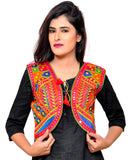 Banjara India Women's Cotton Blend Kutchi Embroidered Sleeveless Short Jacket/Koti/Shrug (Geo) - SSP-GEO03