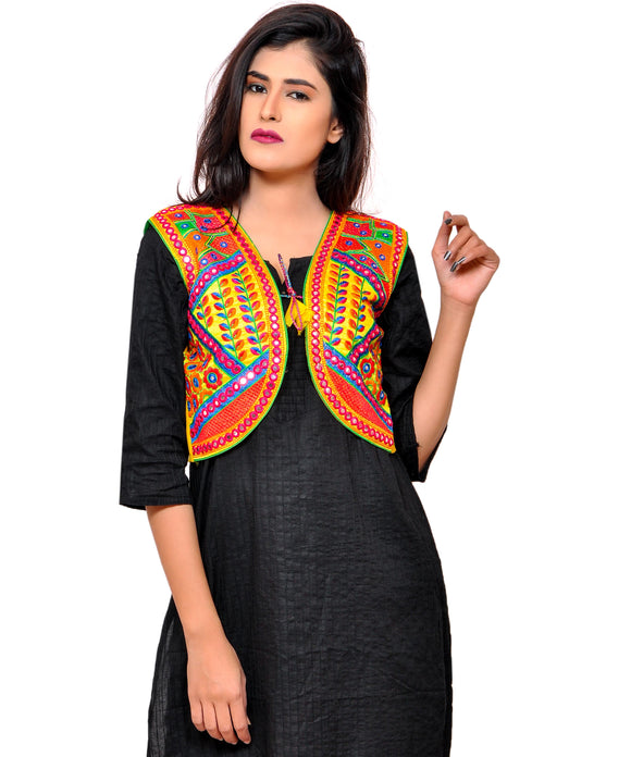 Banjara India Women's Cotton Blend Kutchi Embroidered Sleeveless Short Jacket/Koti/Shrug (Geo) - SSP-GEO05