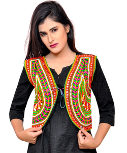 Banjara India Women's Cotton Blend Kutchi Embroidered Sleeveless Short Jacket/Koti/Shrug (Keri) - SSP-KERI01