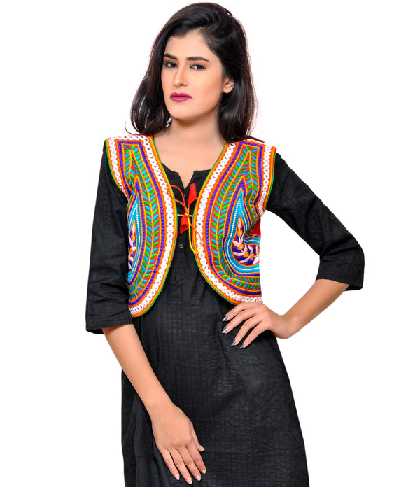 Banjara India Women's Cotton Blend Kutchi Embroidered Sleeveless Short Jacket/Koti/Shrug (Keri) - SSP-KERI03