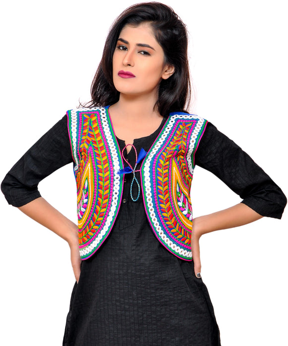 Banjara India Women's Cotton Blend Kutchi Embroidered Sleeveless Short Jacket/Koti/Shrug (Keri) - SSP-KERI04