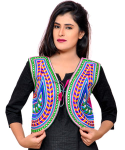 Banjara India Women's Cotton Blend Kutchi Embroidered Sleeveless Short Jacket/Koti/Shrug (Keri) - SSP-KERI06