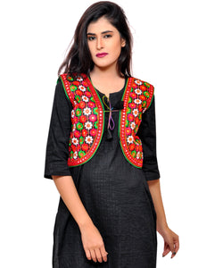 Banjara India Women's Cotton Blend Kutchi Embroidered Sleeveless Short Jacket/Koti/Shrug (Phulwali) - SSP-PHUL01
