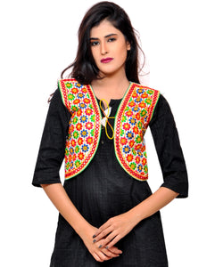 Banjara India Women's Cotton Blend Kutchi Embroidered Sleeveless Short Jacket/Koti/Shrug (Phulwali) - SSP-PHUL02