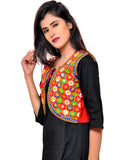 Banjara India Women's Cotton Blend Kutchi Embroidered Sleeveless Short Jacket/Koti/Shrug (Phulwali) - SSP-PHUL03