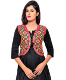 Banjara India Women's Cotton Blend Kutchi Embroidered Sleeveless Short Jacket/Koti/Shrug (Rajwadi) - SSP-RJW01