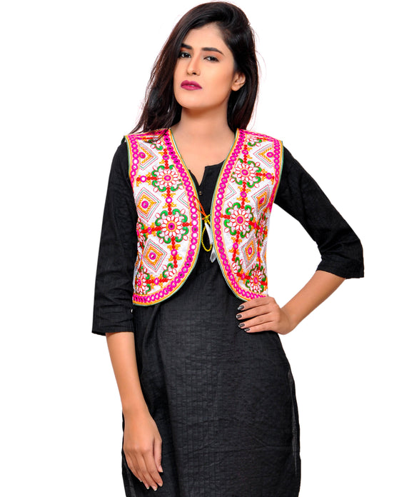 Banjara India Women's Cotton Blend Kutchi Embroidered Sleeveless Short Jacket/Koti/Shrug (Rajwadi) - SSP-RJW02