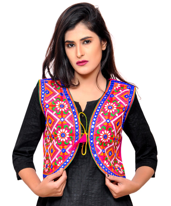 Banjara India Women's Cotton Blend Kutchi Embroidered Sleeveless Short Jacket/Koti/Shrug (Rajwadi) - SSP-RJW06