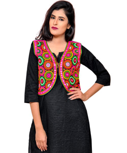 Banjara India Women's Cotton Blend Kutchi Embroidered Sleeveless Short Jacket/Koti/Shrug (Tanatan) - SSP-TAN01