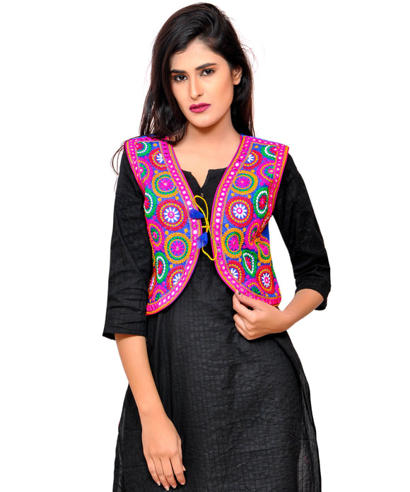 Banjara India Women's Cotton Blend Kutchi Embroidered Sleeveless Short Jacket/Koti/Shrug (Tanatan) - SSP-TAN04
