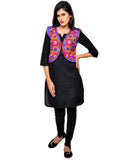Banjara India Women's Cotton Blend Kutchi Embroidered Sleeveless Short Jacket/Koti/Shrug (Tanatan) - SSP-TAN06