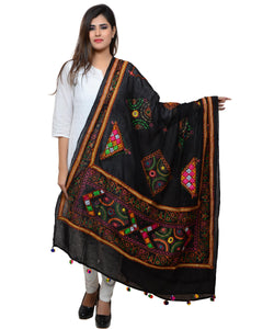 Banjara India Women's Pure Cotton Real Mirrorwork & Hand Embroidery Dupatta (Kutchi Trikon) Black - TKN01
