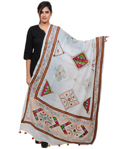 Banjara India Women's Pure Cotton Real Mirrorwork & Hand Embroidery Dupatta (Kutchi Trikon) White - TKN02