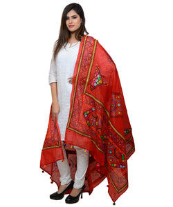 Banjara India Women's Pure Cotton Real Mirrorwork & Hand Embroidery Dupatta (Kutchi Trikon) Red - TKN03