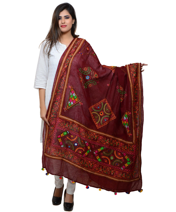 Banjara India Women's Pure Cotton Real Mirrorwork & Hand Embroidery Dupatta (Kutchi Trikon) Maroon - TKN04
