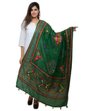 Banjara India Women's Pure Cotton Real Mirrorwork & Hand Embroidery Dupatta (Kutchi Trikon) Dark Green  - TKN05