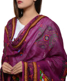 Banjara India Women's Pure Cotton Real Mirrorwork & Hand Embroidery Dupatta (Kutchi Trikon) Magenta Violet - TKN10