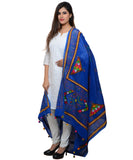 Banjara India Women's Pure Cotton Real Mirrorwork & Hand Embroidery Dupatta (Kutchi Trikon) Blue - TKN12