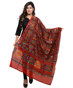 Banjara India Women's Pure Cotton Aari Embroidery & Foil Mirrors Dupatta (Bharchak VIP) Red - VIP03