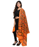 Banjara India Women's Pure Cotton Aari Embroidery & Foil Mirrors Dupatta (Bharchak VIP) Light Orange - VIP07