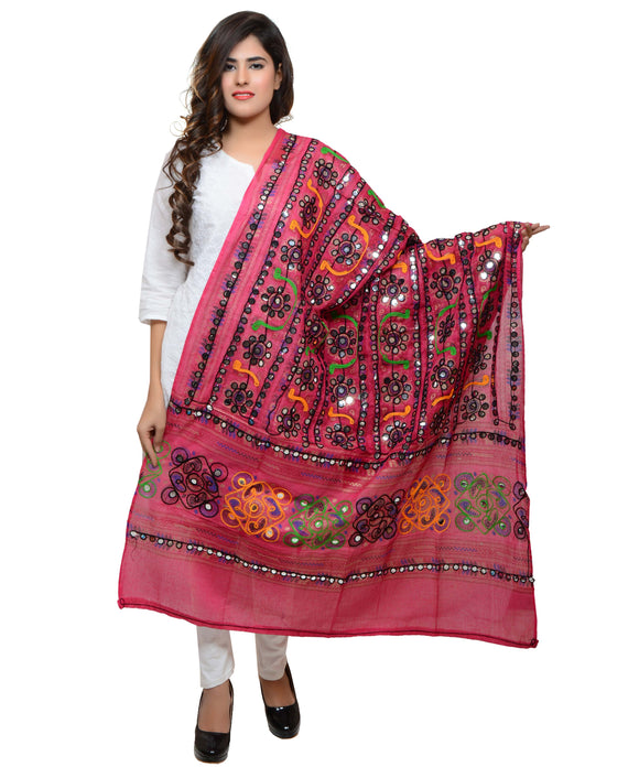 Banjara India Women's Pure Cotton Aari Embroidery & Foil Mirrors Dupatta (Bharchak VIP) Pink - VIP09