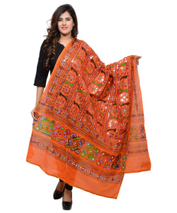 Banjara India Women's Pure Cotton Aari Embroidery & Foil Mirrors Dupatta (Bharchak VIP) Tangy Orange - VIP11