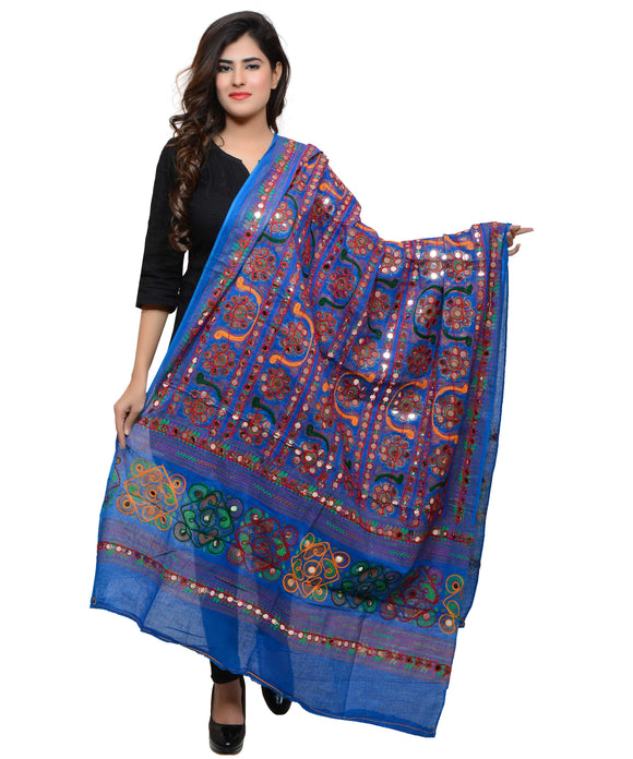 Banjara India Women's Pure Cotton Aari Embroidery & Foil Mirrors Dupatta (Bharchak VIP) Blue - VIP12