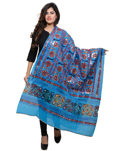 Banjara India Women's Pure Cotton Aari Embroidery & Foil Mirrors Dupatta (Bharchak VIP) Turquoise - VIP13