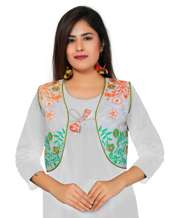 Banjara India Women's Poly Cotton Embroidered Kutchi Short Length Jacket/Koti – Tiranga