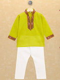 Banjara India Kutchi Emboidered Kurta Pajama for Boys - Lt. Green