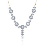 Charms Sparkling Silver AD Jewellery Set with Earrings for Women/Girls
