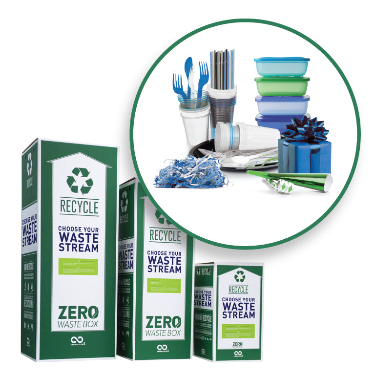 Recycle dining disposables and party supplies with this Zero Waste Box