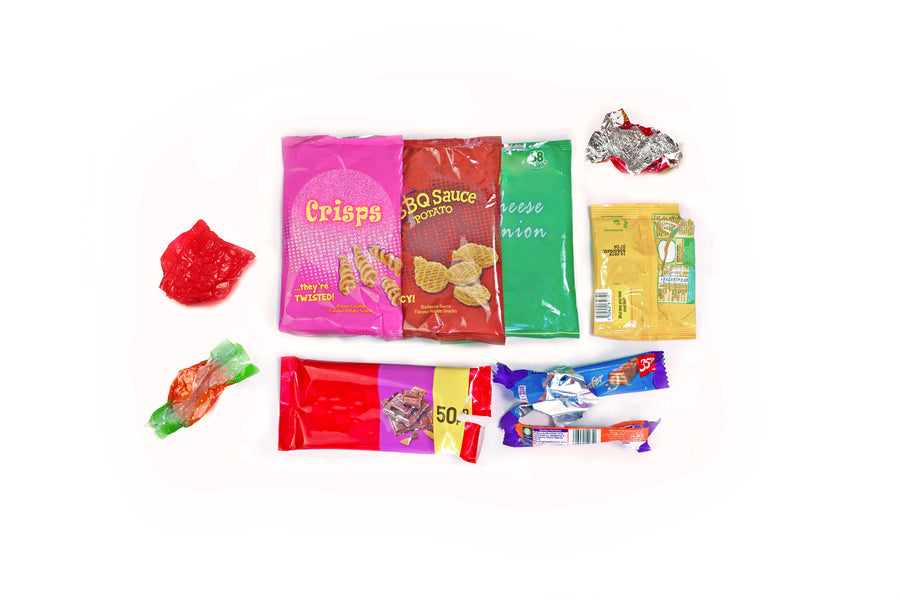 Recycle crisp packets, snack packaging and sweet wrappers