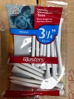 Masters Golf White Wooden Tees Small Pack 3 1/4