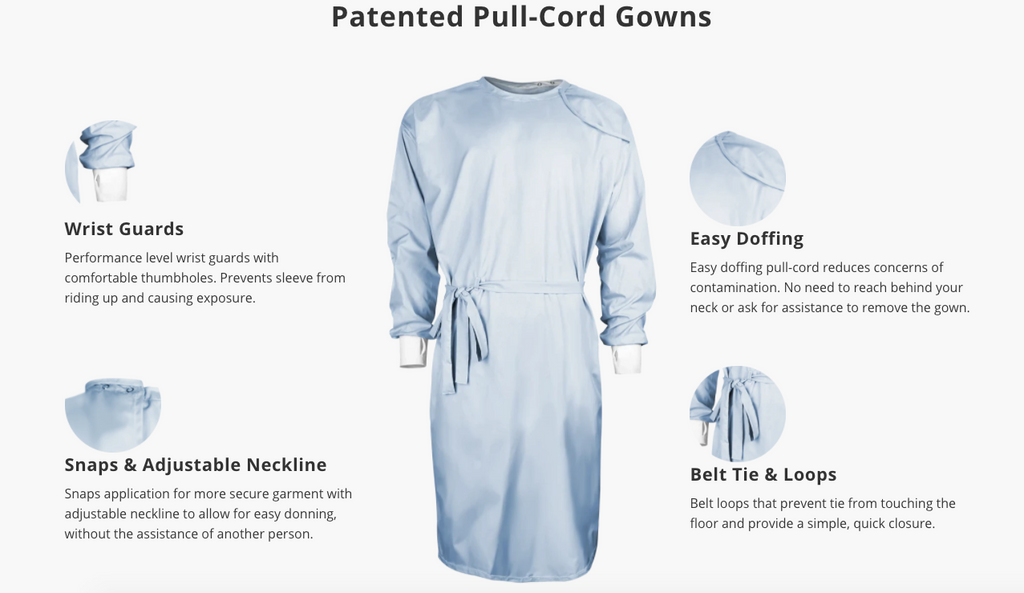 reusable pull cord gown