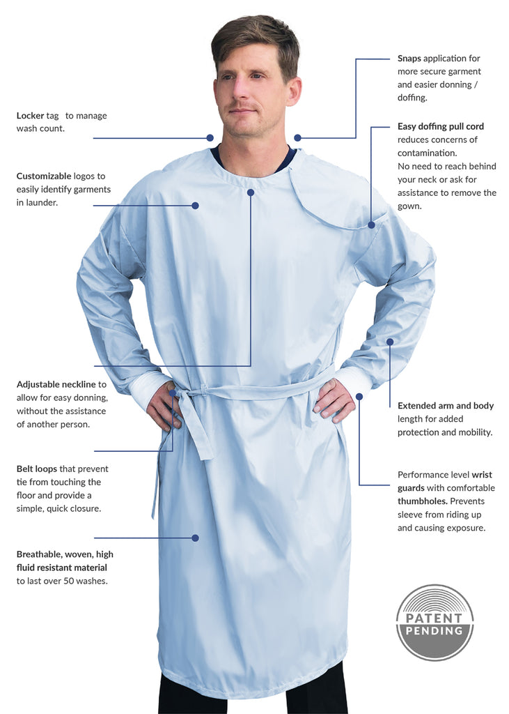 AAMI Level 2 Pull Cord Reusable Isolation Gown
