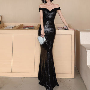 #5023 Sequin Fishtail Long Evening Dress