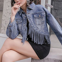Load image into Gallery viewer, #5032 Tassel Denim Jacket